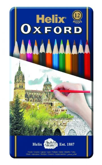 HELIX OXFORD COLOURING PENCILS in GIFT TIN of 12 - FULL Size Hexagonal Shape